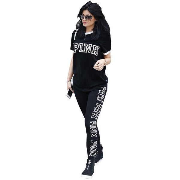 Summer Casual 2 Piece Outfits O Neck Short Sleeve Tees And Pink Letter Printed Full Length Pants Women Plus Size XXL Sweatsuit
