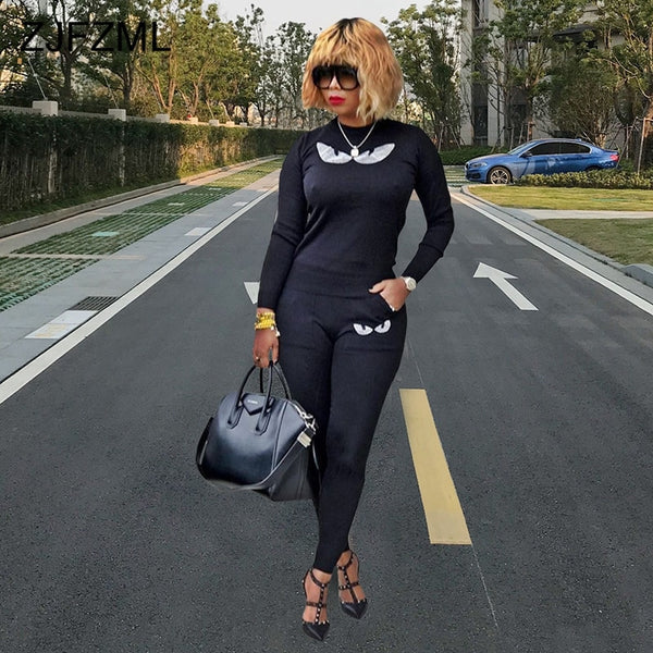 Eyes Pattern Sexy 2 Piece Matching Set Women O Neck Long Sleeve Top And Pockets Pencil Pants Casual Outfits Plus Size Sweatsuit