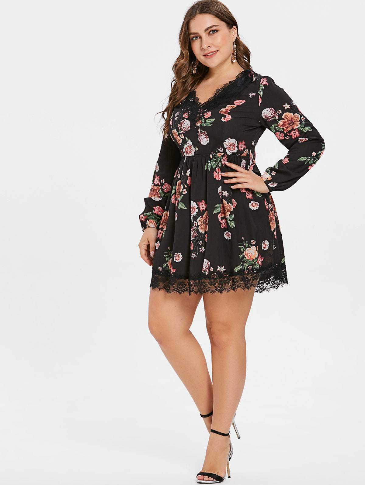 0ee472b1ab2fe Wipalo Plus Size Lace Up Floral Print Mini Dress Casual V Neck A-Line Lace  Trim Dress Oversized Women Fall Clothes 5XL Vestidos
