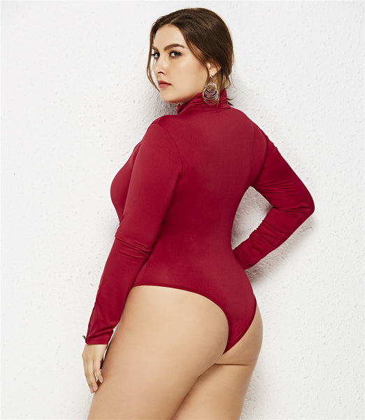 Plus Size 5XL 6XL Romper Womens Jumpsuit Long Sleeve Turtleneck Bodysuit Jumpsuits for Women 2019 Spring Female Sexy Body Suit