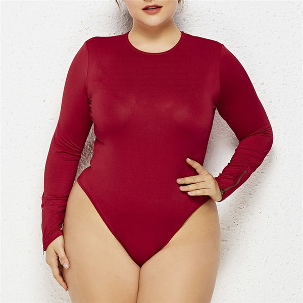 Feitong  plus size bodysuit Women Sexy o neck Long Sleeve Zipper Body Sculpting Slim Jumpsuit rompers womens jumpsuit macacao