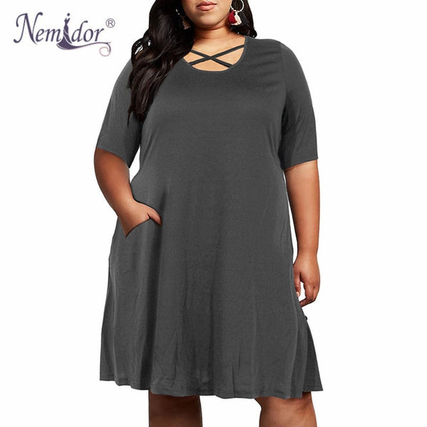 Nemidor Women Vintage Criss Cross Party Loose Dress Stretchy O-neck Plus Size 7XL 8XL 9XL Casual T-shirt Swing Dress With Pocket