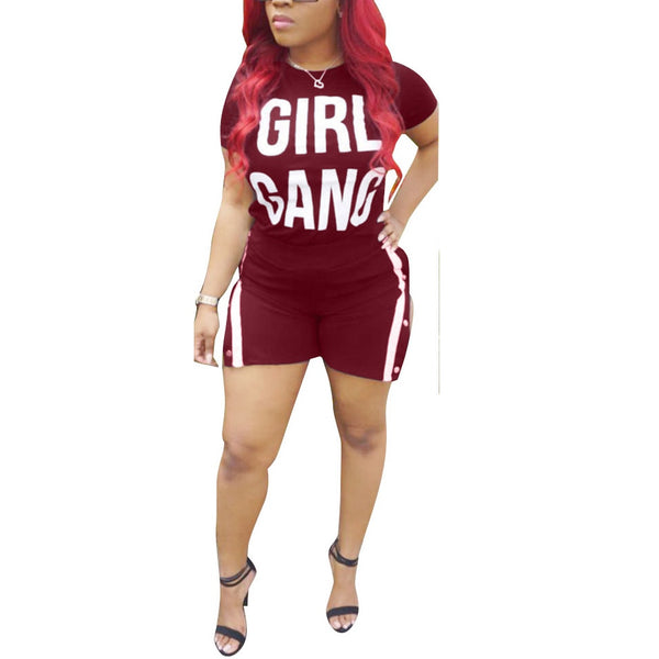 HAOOHU 2 Piece Set Women Plus Size Letter Short Sleeve Tops+Shorts Ladies Summer Outfits Suit Sexy Two Piece Sweatsuit