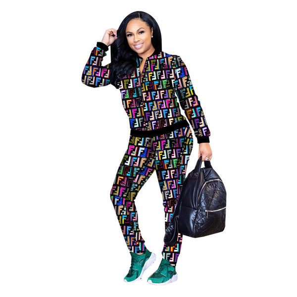2 PIECE MULTI COLORED SWEAT SUIT