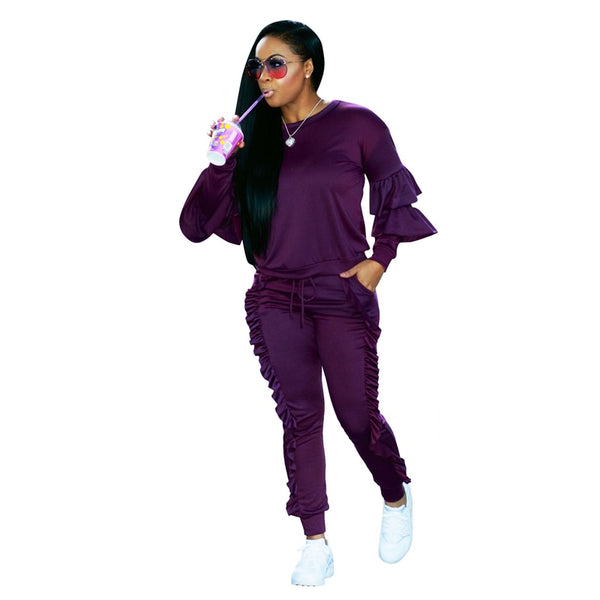 Knitted Suit Tracksuit Women Loungewear Casual Two Piece Sets Long Sleeve Crop Tops And Pants Sets Ladies Plus Size Sweat Suits