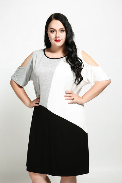 Women's Sexy Off-shoulder Design White Gray Black Blocked Plus Size Loose Summer Casual Dress Midi T-shirt Tunic Shirt Dress 7XL
