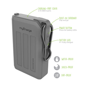Adventure H20 10050mAh Portable Charger Grey Features