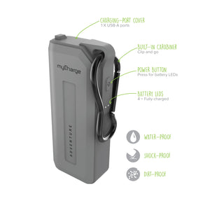 AdventureMini H20 Grey 3350 Portable Charger for Smartphones Features