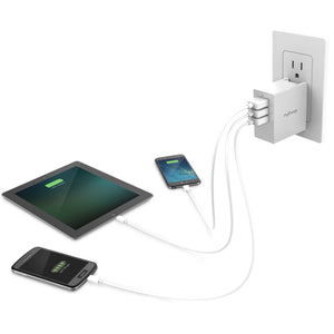 3 Port Wall Charging Adapter for Smartphones & Tablets In Use