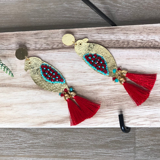Cocuy Earrings Aqua and red