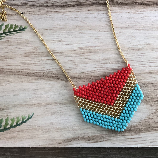 Nacao necklace red, gold and aqua