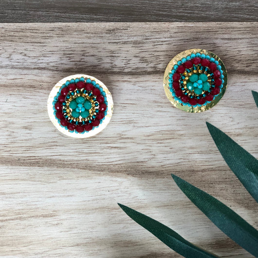 San Andres Earrings Red and Aqua