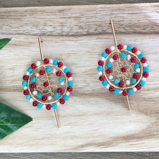 Soplaviento Earrings Red and Aqua