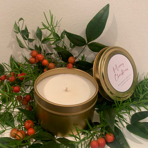 Merry Christmas Candle - 8oz Gold Tin - Wildrootscandle