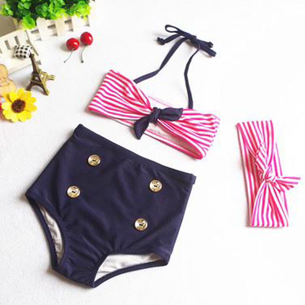 unique retro girls high waisted bikini