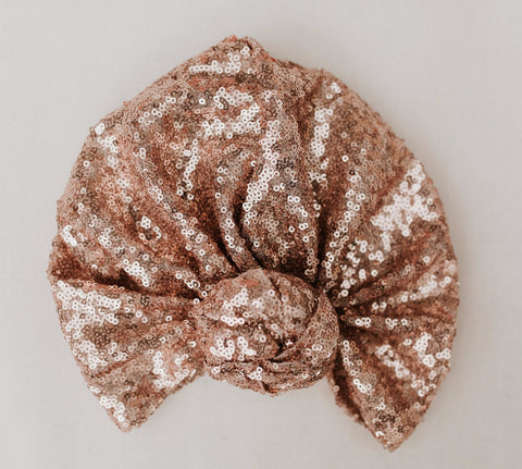 Rose Gold Sequins Turban