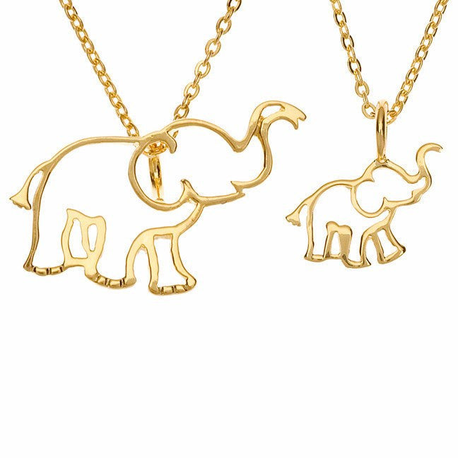 Two by two elephant charm necklace set little trendsetter two by two elephant charm necklace set aloadofball Images
