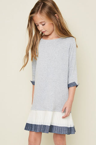 Pleat Hem Knit Dress