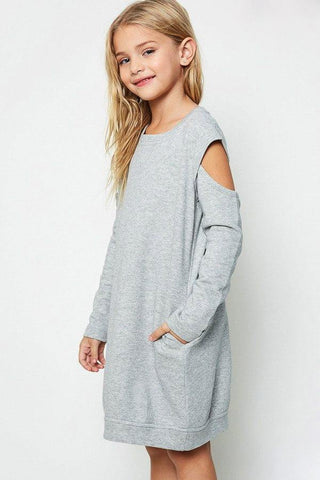 Sweat Dress With Cut Out Sleeves