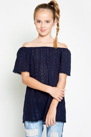 Eyelet Off the Shoulder Tunic