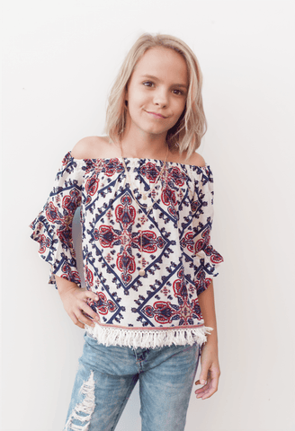 Printed Off the Shoulder Tunic
