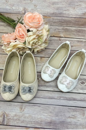 Satin and Rhinestone Flower Girl Shoes