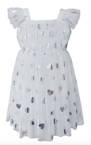 Silver Heart Embellished Tulle Dress