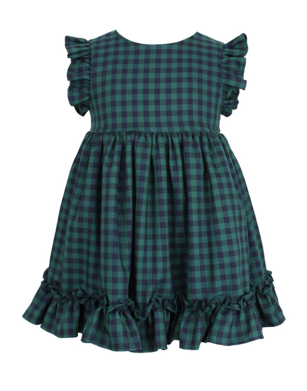 Check Flutter Sleeve Ruffle Dress