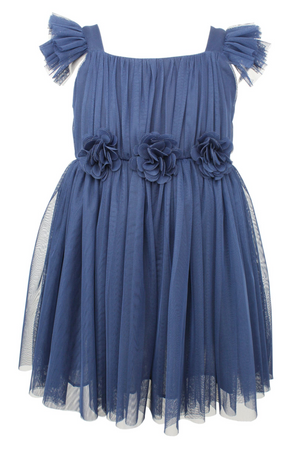 Flutter Sleeve Tulle Dress