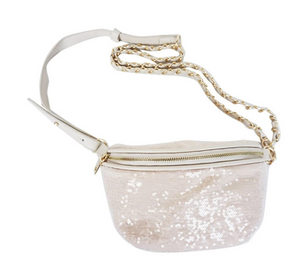White Sequins Waist Pack