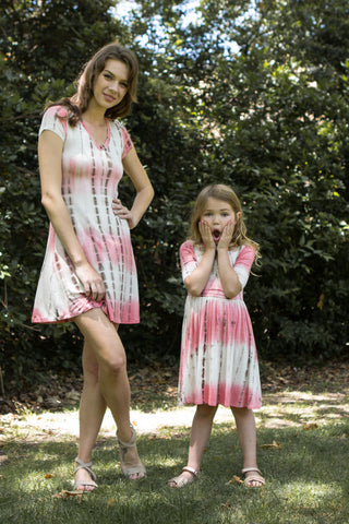 V-Neck Tie Dye Dress For Mom