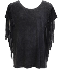 Washed Black Side Fringe Tee