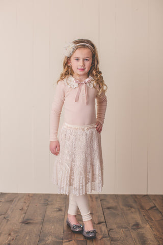 Lace Collar Long Sleeve & Pleated Skirt Legging Set
