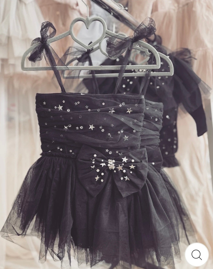 Stardust Bow Dress Noir