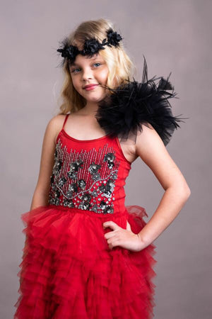 Red Beaded Tutu Dress