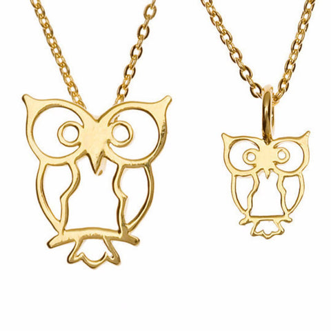 Two by Two Owl Charm Necklace Set