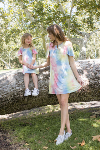 Tie Dye Cold Shoulder Dress For Mom