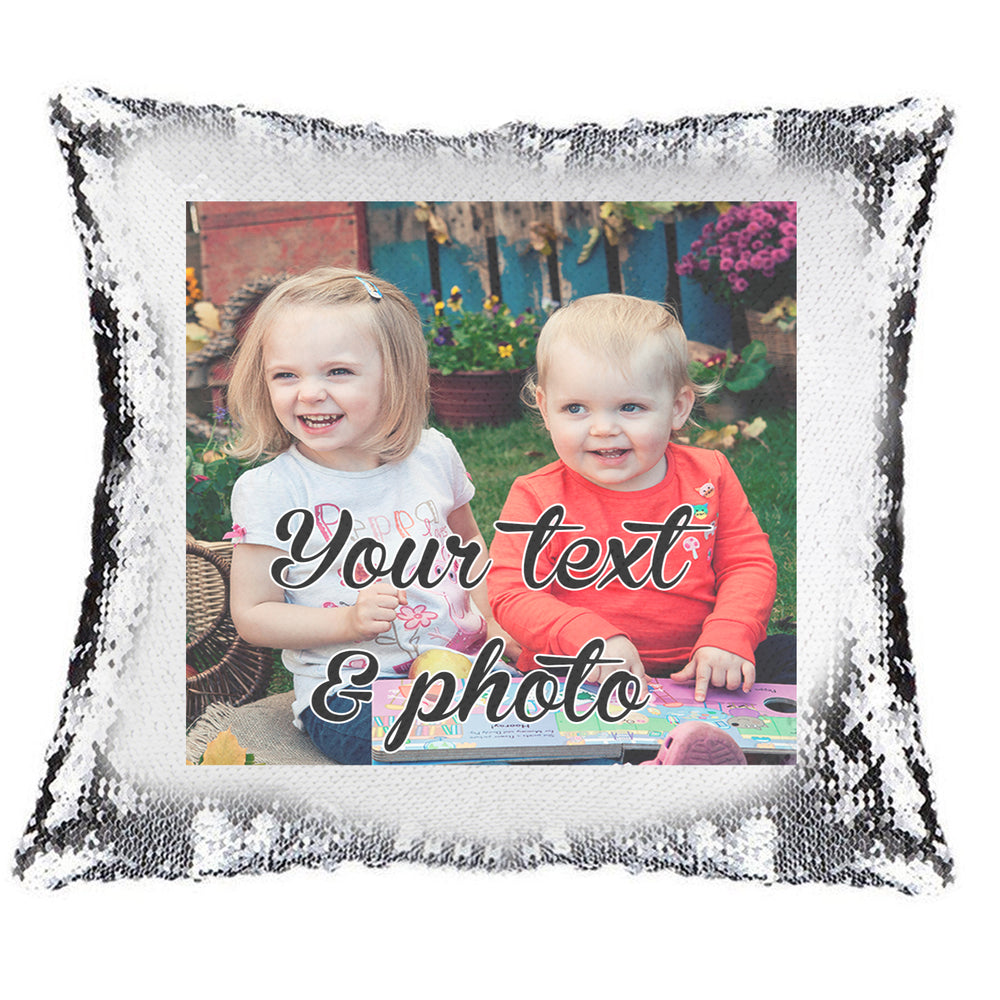 Magic Reveal  Sequin Cushion Cover a PERSONALISED Pillow Rainbow Smile