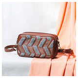 Chevron Embroidered Brown Sling Bag
