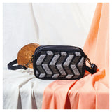 Chevron Embroidered Black Sling + Ivory Audrey