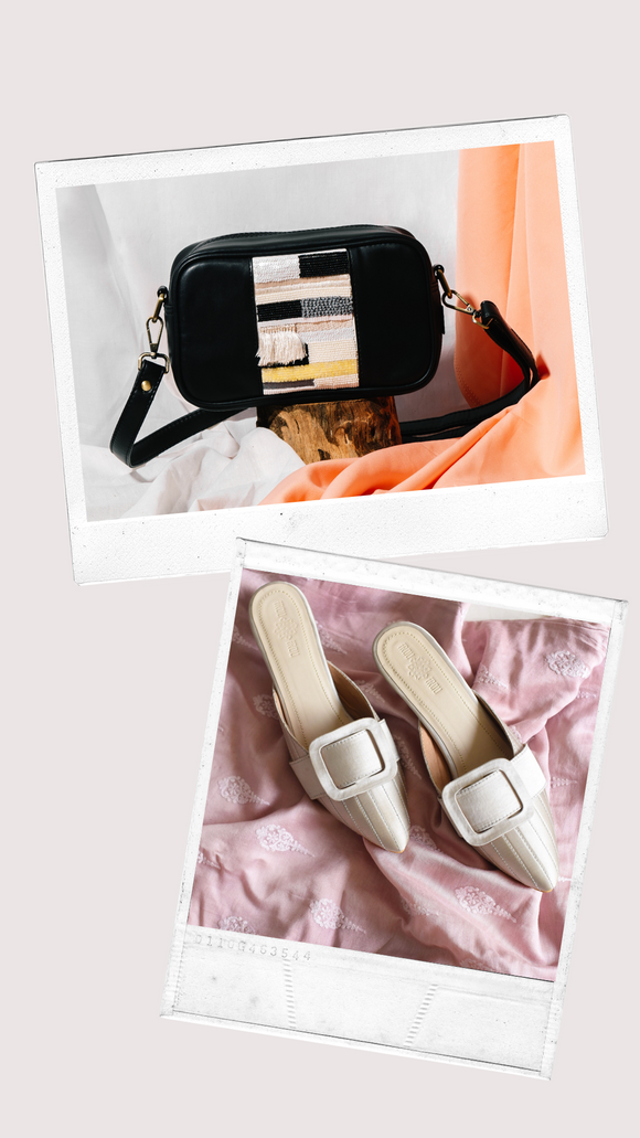Pixel Embroidered Black Sling + Ivory Audrey