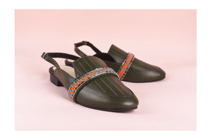 Forest Green Jaiden Strapped Flat Mules