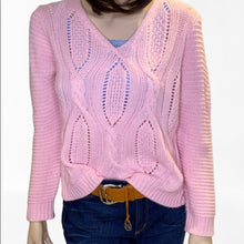 Load image into Gallery viewer, Love & Liberty Pink Cable Knit Laced Back Sweater