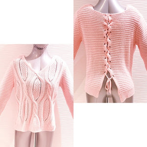 Love & Liberty Pink Cable Knit Laced Back Sweater