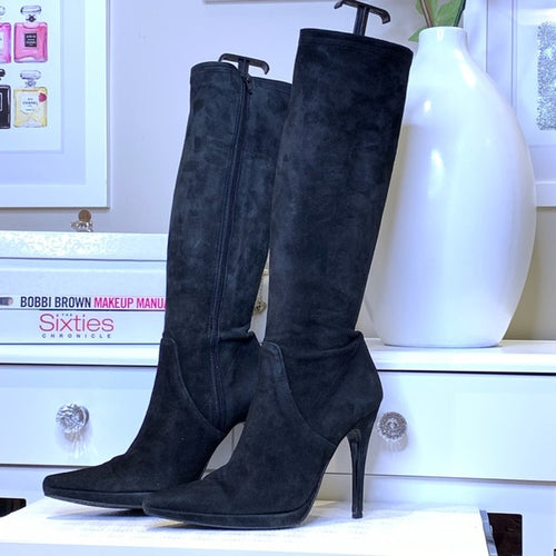 Mimosa Black Suede Knee High Boot Size 7-1/2