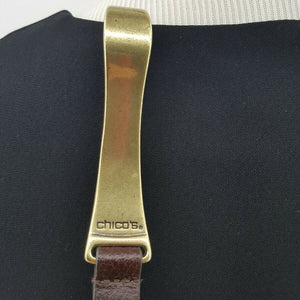 Chicos Brown Leather Belt With Brass Horseshoe