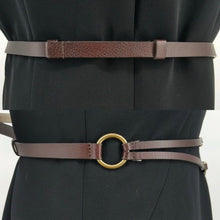 Load image into Gallery viewer, Chicos Brown Leather Belt With Brass Horseshoe