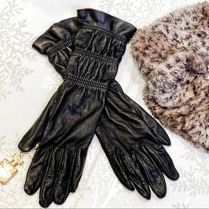 Genuine Leather Long Gloves Silk Lining Size 8