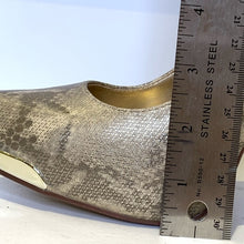 Load image into Gallery viewer, Derek Heart Gold Tone Pointed Platform Snakeskin Size 7