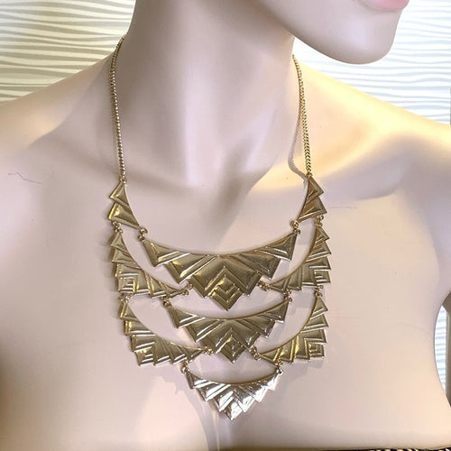 Gold Tone Necklace Metal Geometric Statement Piece Boho